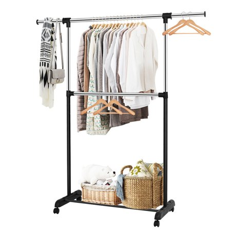Costway 2 Rod Garment Rack Adjustable Clothes Hanger Rolling Closet Storage (Castaway Clothing)