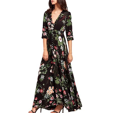 UKAP Women's Floral Maxi Dresses Vintage Summer Short Sleeve Boho Button Up Split Flowy Beach Party Dress Belt