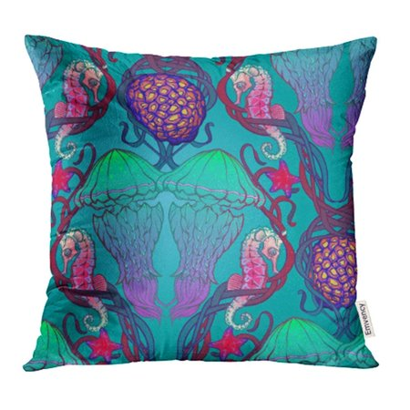 ARHOME Animal with Jellyfish Seaweed Coral Reef Sea Creatures in Nouveau Intricate Pillow Case Pillow Cover 16x16 inch Throw Pillow Covers