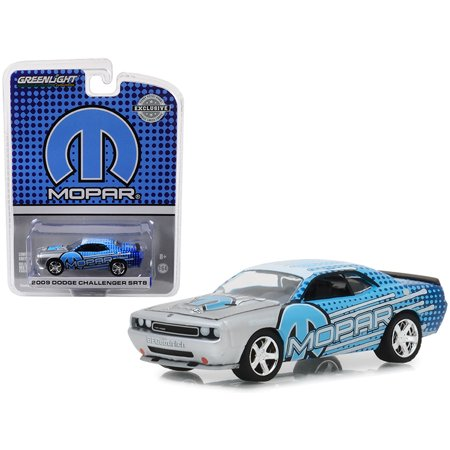 """2009 Dodge Challenger SRT8 MOPAR Edition Silver and Blue """"Hobby Exclusive"""" 1/64 Diecast Model Car by Greenlight"""
