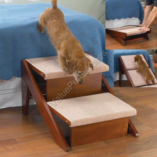 Pet Studio Carpeted 2 Step Dog Ramp, Folds Flat