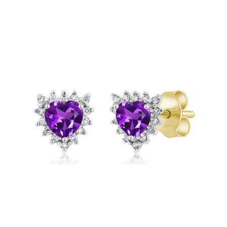 (18K Two Tone Gold 0.44 Ct Heart 4mm Purple Amethyst & Diamond Stud Earrings)