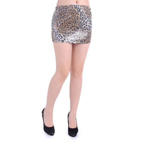 S/M Fit Brown All Over Cheetah Print Sequin Embellished Mini -