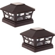 "GREENLIGHTING NEW 5""x5"" Solar Powered Patio Fence Post Cap Light 2 Pack"