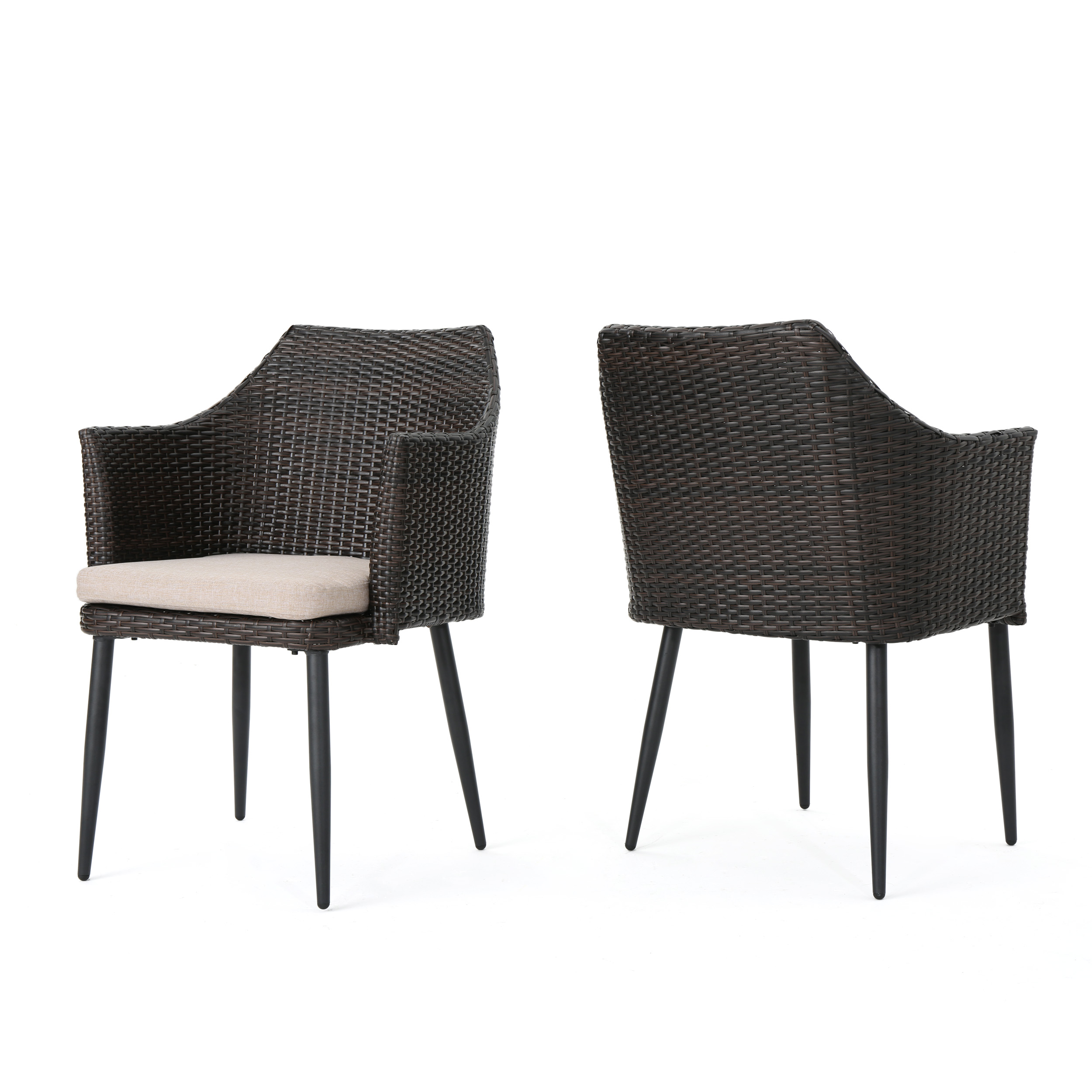 Ibiza Outdoor Multibrown Wicker Dining Chairs with Water Resistant Cushions, Set of 2, Textured Beige