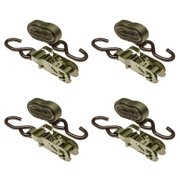 """1"""" x 10' Army Green 3,000 lb. Ratchet Straps with Coated S-Hook Ends (4-Pack)"""