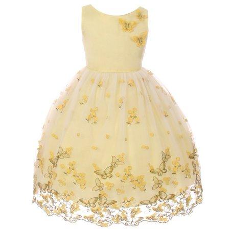 Kids Dream Girls Yellow Metallic Butterfly Flower Easter Dress 8-12