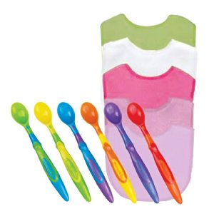 Green Sprouts Basic Waterproof Absorbent Terry Bib 5 Pack with Munchkin Silicone Spoons, Boy