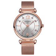 Womens Quartz Watch Rose Gold Steel Mesh Belt Rhinestone Time Scale Hour for Friends Lovers Best Holiday Gift Casual