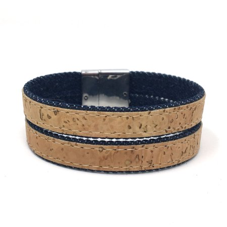 Denim Double Strand Natural Cork Essential Oil Aromatherapy Bracelet with Magnetic Clasp by Simply Cork