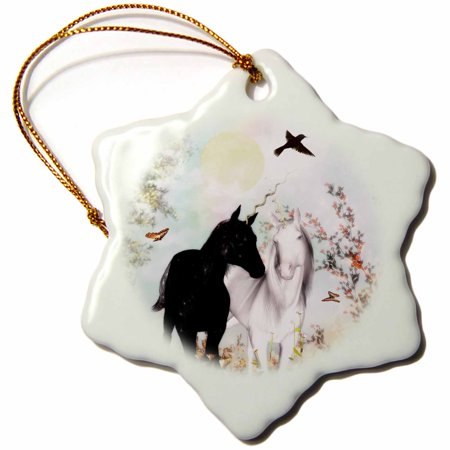 3dRose Unicorn Love, Unicorns In A Garden, Snowflake Ornament, Porcelain, 3-inch ()