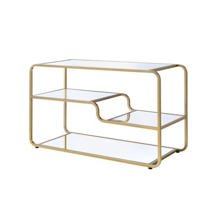 ACME Astrid TV Stand in Gold and Clear Glass ()