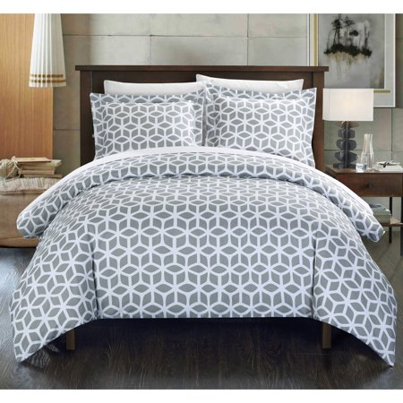 - Chic Home 2-Piece Lovey Geometric Diamond Printed Reversible Duvet Cover Set, Grey Twin