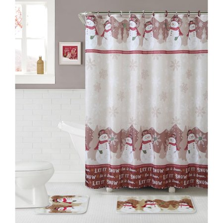 VCNY Snowman Themed 15 Pc Complete Christmas Fabric Shower Curtain Bathroom Set