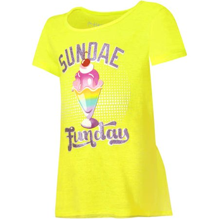 c1d6e6b014cca7 Girls Printed Short Sleeve Ruffle Shirttail T-shirt - Walmart.com
