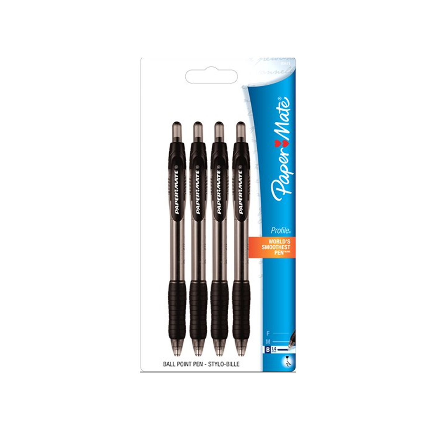 Paper Mate 4pk Profile Retractable Ballpoint Pens, Black