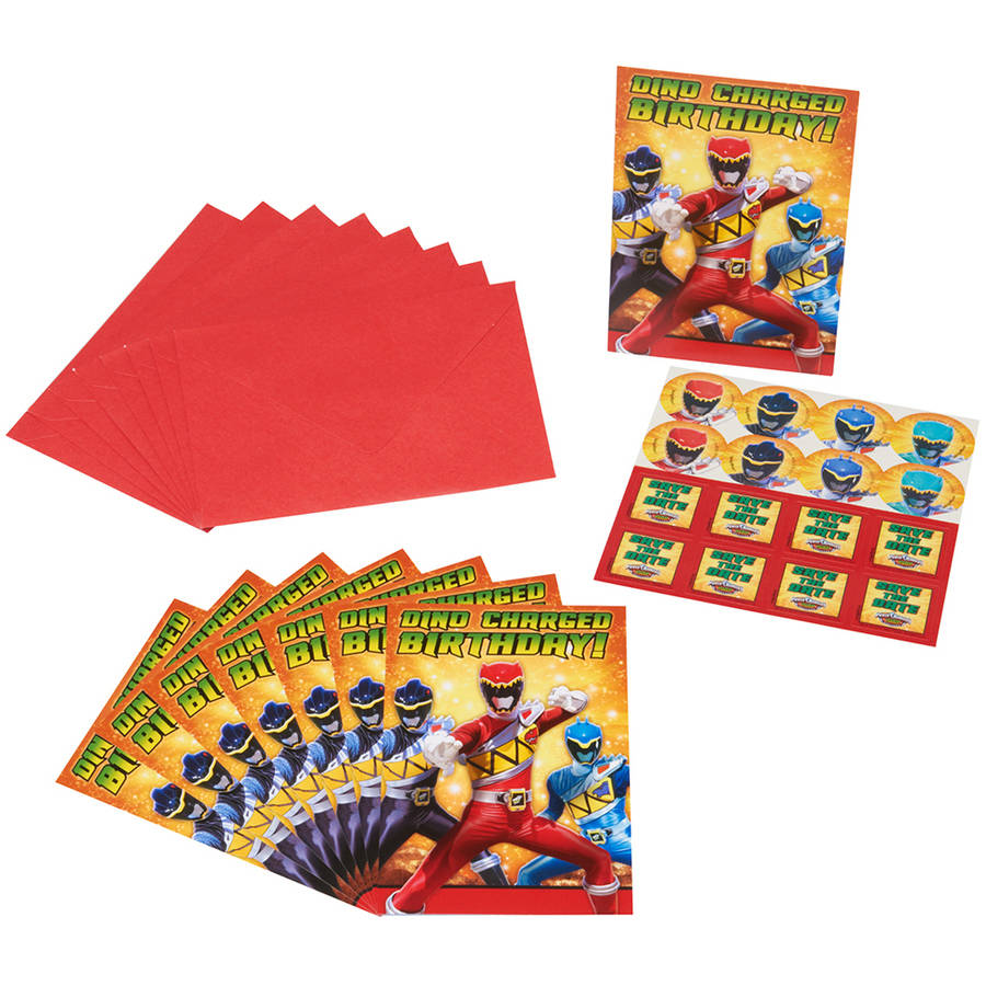 Power Rangers Dino Charge Invite Postcards, 8 Count, Party Supplies