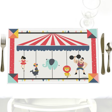 Carnival Circus - Cirque du Soiree - Party Table Decorations - Baby Shower or Birthday Party Placemats - Set of - Carnival Themed Table Decorations