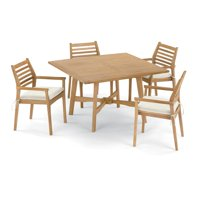 Wexford 5 Piece Natural Shorea Patio Dining Set W/ 48 Inch Square Table & Sunbrella Canvas Natural Cushions By Oxford Garden