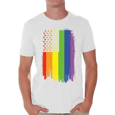 Awkward Styles Rainbow American Flag Men's T Shirt LGBT Flag Shirts for Men Rainbow Flag Neon T-shirt Gay Rights Support Tee Shirt Tops