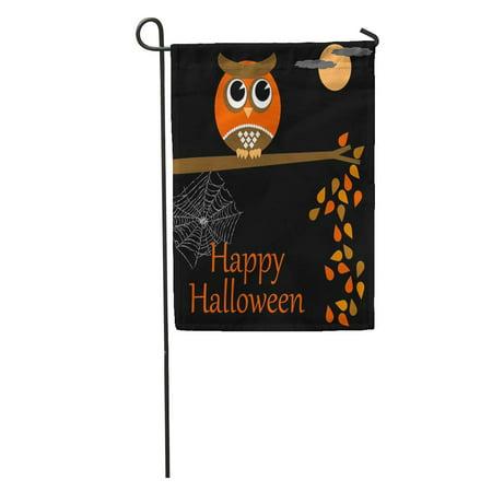 LADDKE Birthday Happy Halloween Owl Collection Series Alone Branch Celebrate Celebrations Garden Flag Decorative Flag House Banner 12x18 inch](Happy Birthday Halloween Font)