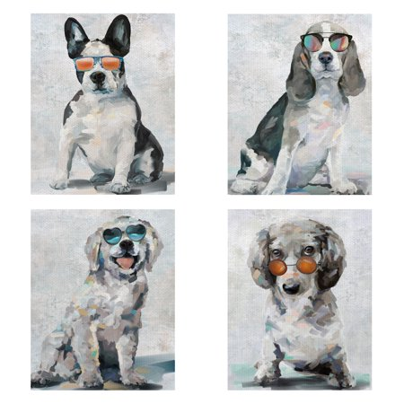 Masterpiece Art Gallery Shady Pups I, II, III, IV by Studio Arts Puppy Dog Canvas Art Print Set of 4 (11