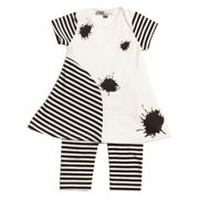 KidCuteTure Baby Girls White Black Stripe Sami Dress Leggings Outfit Set 3M-24M
