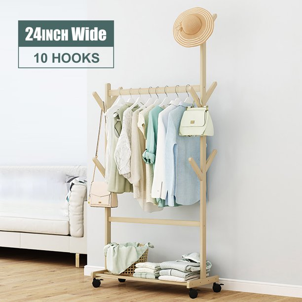 Wood Clothes Rack on Wheels Rolling Garment Rack with 2-Tier Storage Shelves and Coat Hooks for Shoes,Clothing, Portable Garment Laundry Rack for Home Office