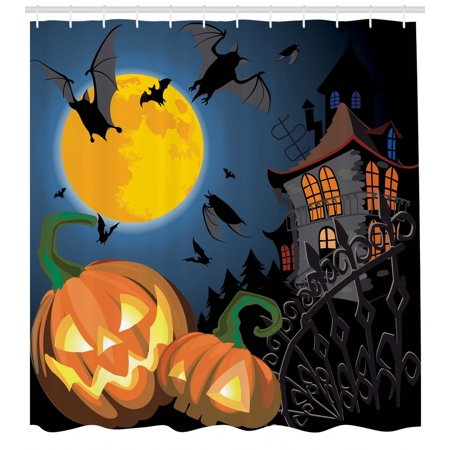 Halloween Shower Curtain, Gothic Halloween Haunted House Party Theme Design Trick or Treat for Kids Print, Fabric Bathroom Set with Hooks, Multicolor, by Ambesonne