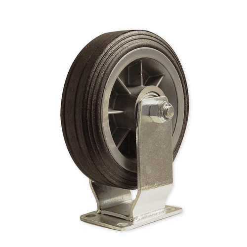 CASTER 6 INCH ALL-TERRAIN FIXED 375 lb. solid rubber, standard plate 1-3/4 x 2-7/8