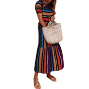 Boho Dress Women Summer Beach Sundress Casual Colorful Stripes Long Maxi Holiday Evening Party Cocktail