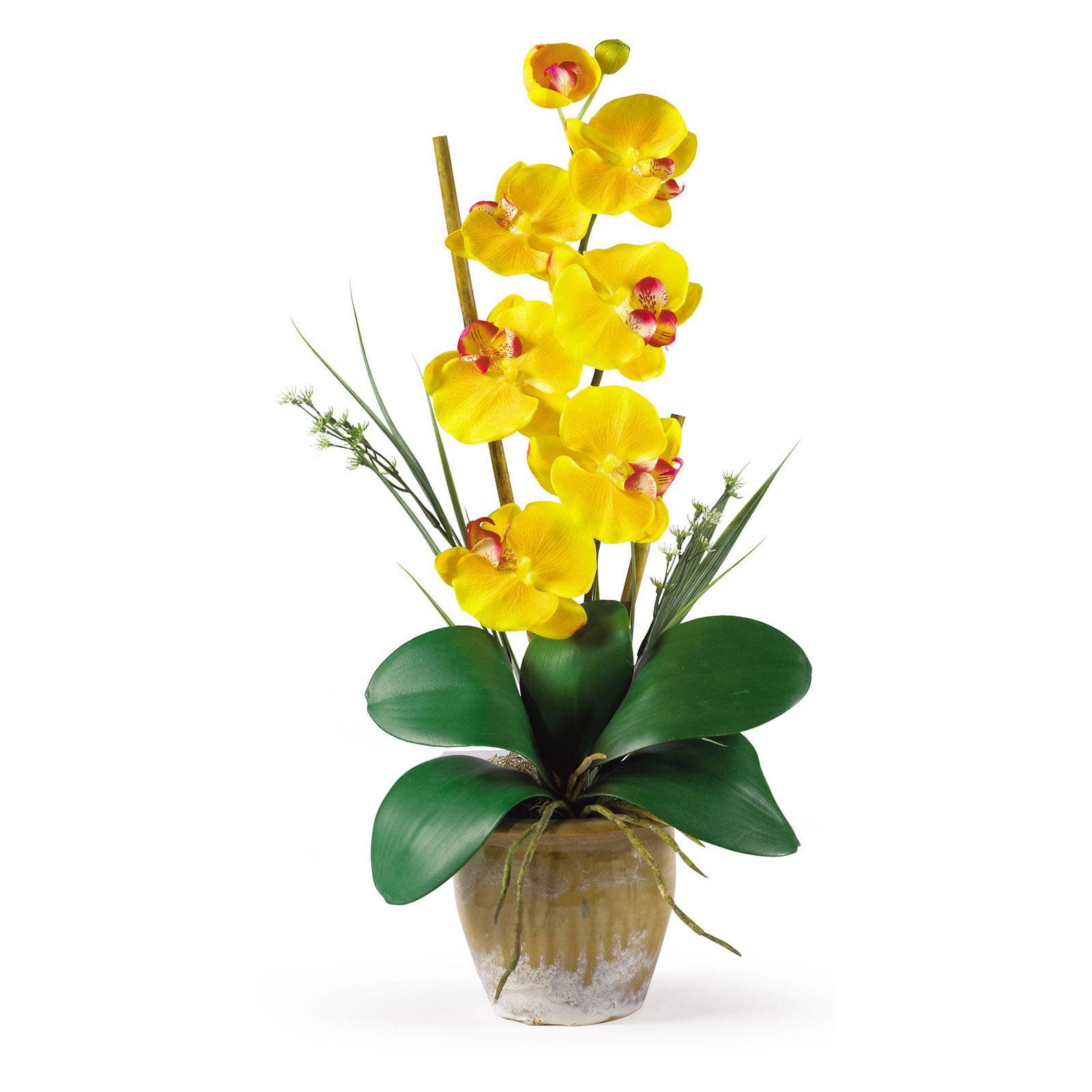 Phalaenopsis Silk Orchid Flower Arrangement, Yellow