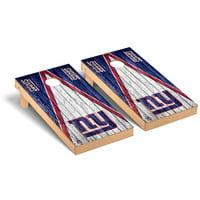 New York Giants 2' x 4' Triangle Weathered Regulation Cornhole Board Set