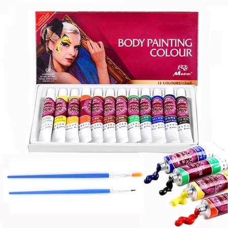Face & Body Paint Kit - 12 Colors Professional Face Painting Kits Contains with Rich Pigment and 2 Brushes - Suitable for Face and Body