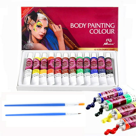 Face & Body Paint Kit - 12 Colors Professional Face Painting Kits Contains with Rich Pigment and 2 Brushes - Suitable for Face and Body Painting