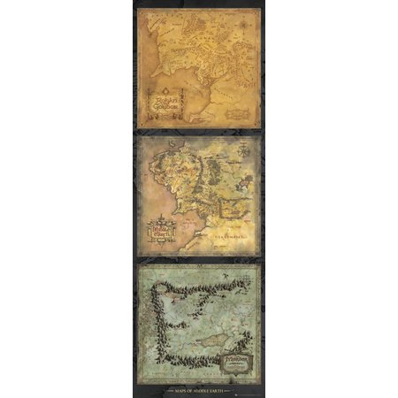 The Lord Of The Rings   Door Movie Poster   Print  Middle Earth Map Tryptich   Size  21 X 62