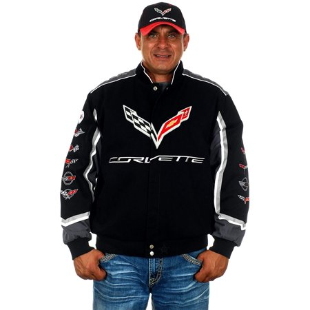 JH Design Mens Chevy Corvette Jacket Embroidered Cotton Twill