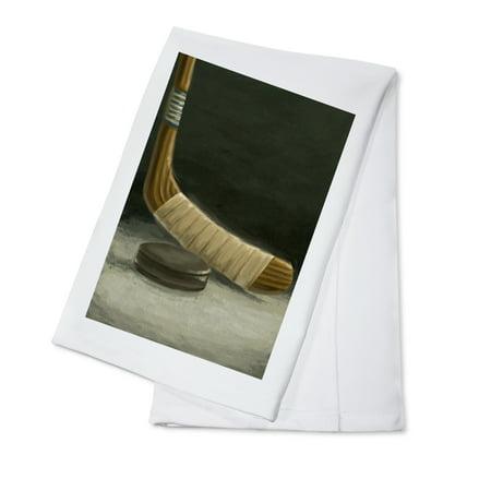- Hockey Stick & Puck - Oil Painting - Lantern Press Artwork (100% Cotton Kitchen Towel)