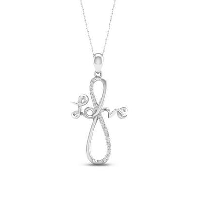 IGI Certified 1/20Ct TDW Diamond 10K White Gold Infinity Love Necklace Necklace (H-I, I2)
