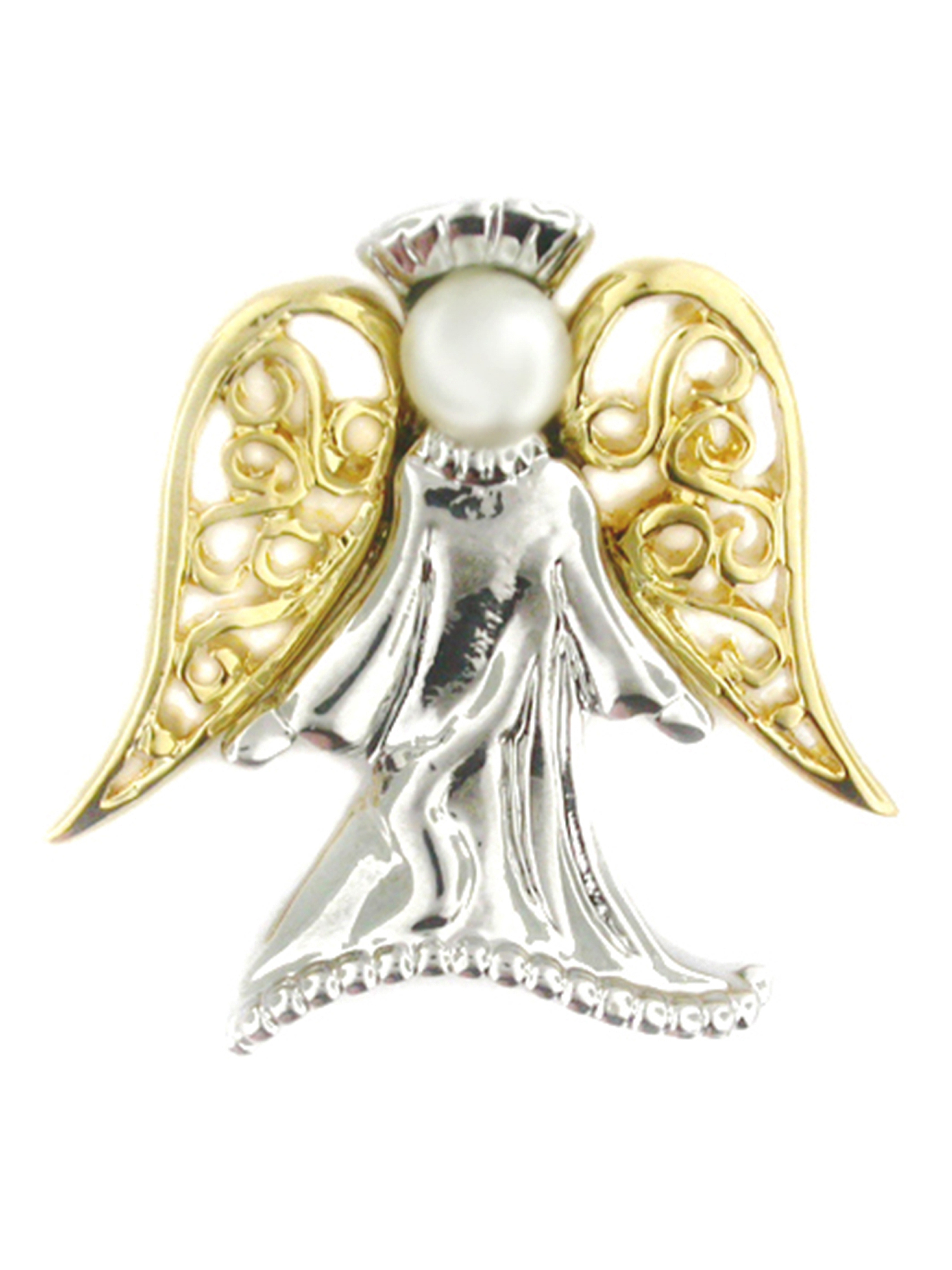 PinMart's Angel with Pearl Religious Spiritual Jewelry Brooch Style Lapel Pin 1""