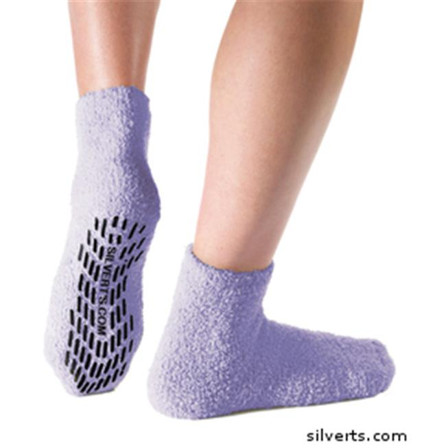 Silverts 191400701 Non Skid - Anti Slip Grip Socks For Women - Mens - One, Lavender