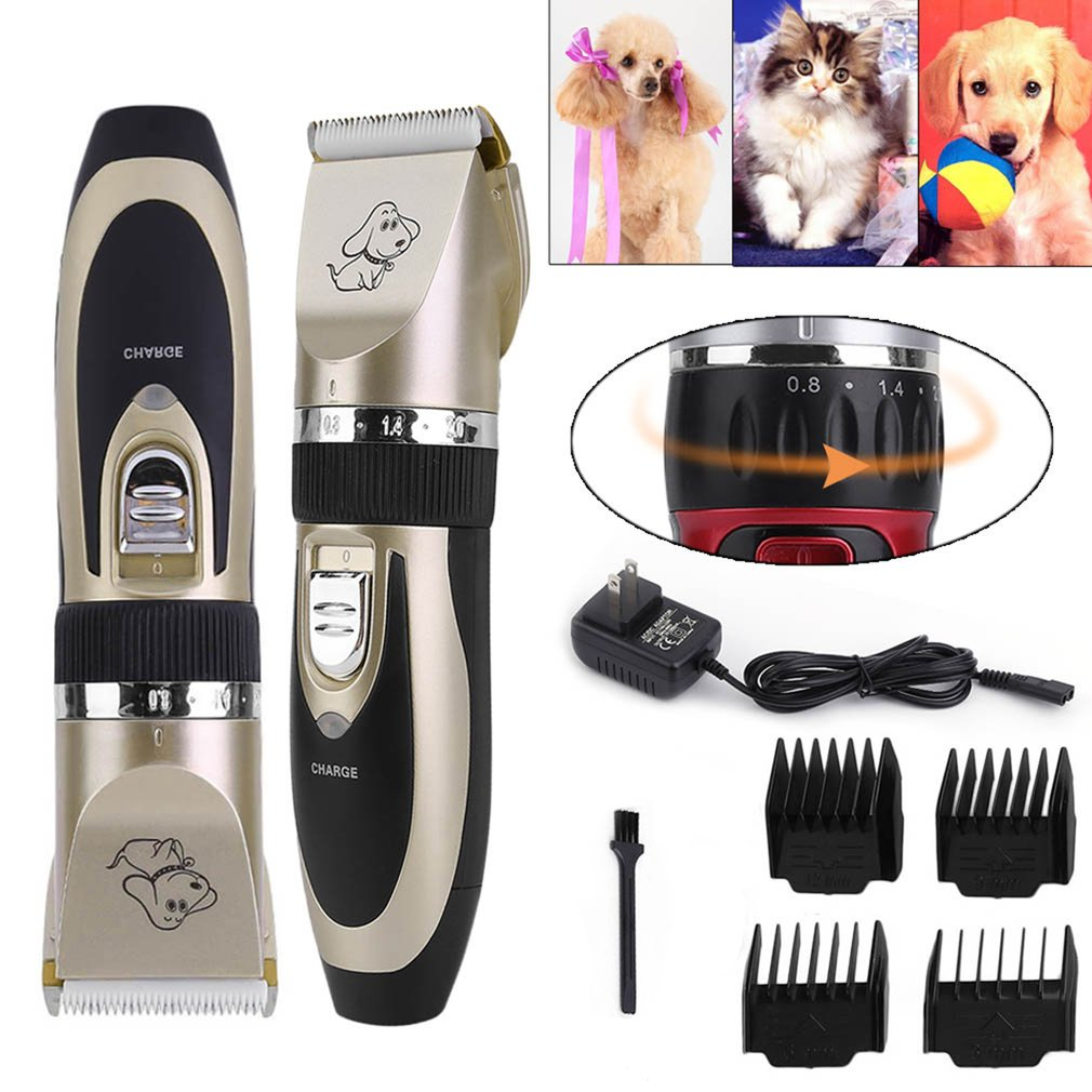 LESHP Low Noise Cordless Pet Clipper Cat Cutter Dog Hair Grooming Trimmer Clipper Animal Hair Remover Cutter Comb Brush Kit