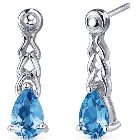 Blue Topaz Pear Shape (2.00 Ct Pear Shape Swiss Blue Topaz Sterling Silver Drop Earrings Rhodium)