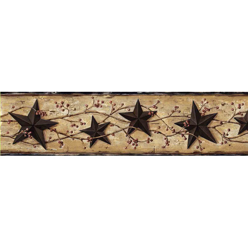 Brewster Home Fashions Countryside June Heritage Tin 15' x 5.7'' Star 3D Embossed Border Wallpaper
