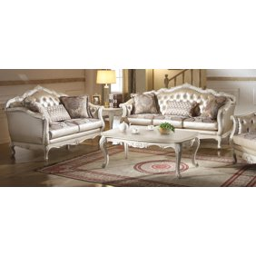 Rose Gold and Pearl White Living Room Set 2 Pcs Acme Furniture 53540  Chantelle
