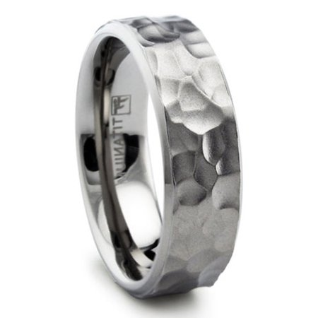 8MM Hammered Titanium Ring Wedding Band Matte Finish Sizes 8 to 13 (Hammered Design Wedding Band)