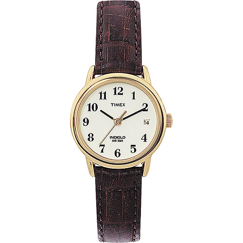 Timex Women's Easy Reader Watch, Brown Croco Pattern Leather Strap