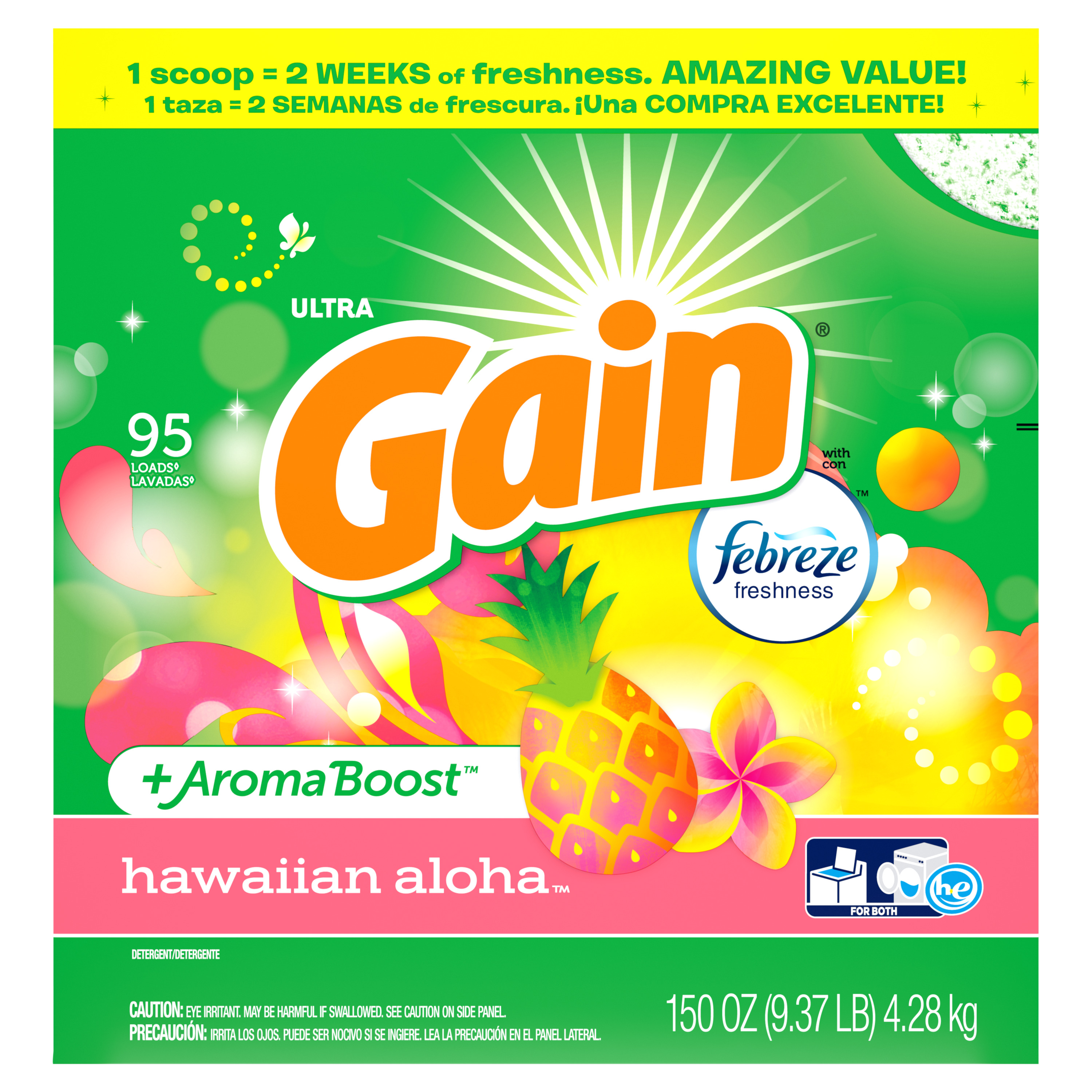 Gain Powder Laundry Detergent for Regular and HE Washers, Hawaiian Aloha Scent, 150 ounces 95 loads