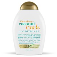 OGX Quenching + Coconut Curls Curl-Defining Conditioner, Nourishing Curly Hair Conditioner with Coconut Oil, Citrus Oil & Honey, Paraben-Free with Sulfate-Free Surfactants, 13 fl.oz