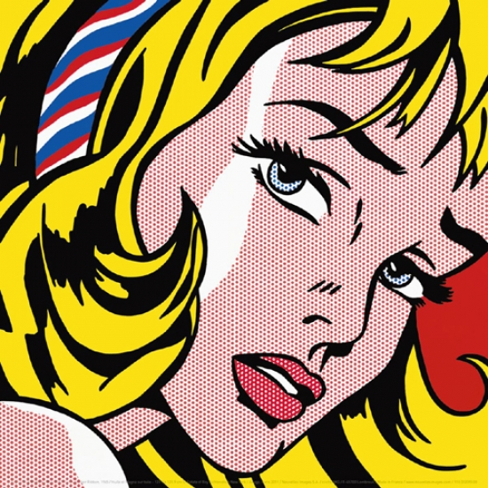 Girl with Hair Ribbon 1965 Poster Print by Roy Lichtenstein (12 x 12)